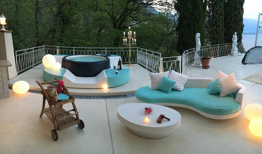 Softub hot tub on balcony