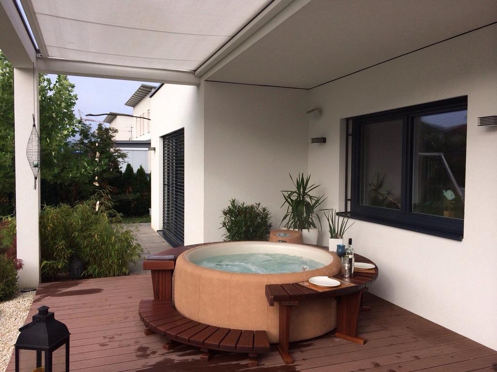 Softub hot tub under  roof
