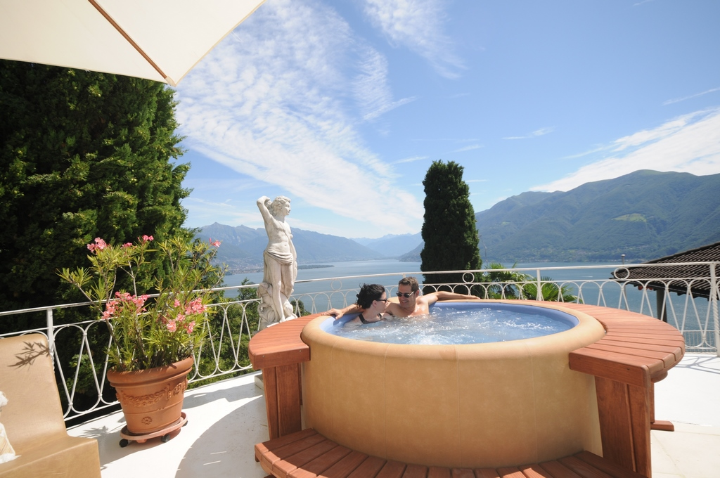 Our Softub Hot Tub with an amazing lake view