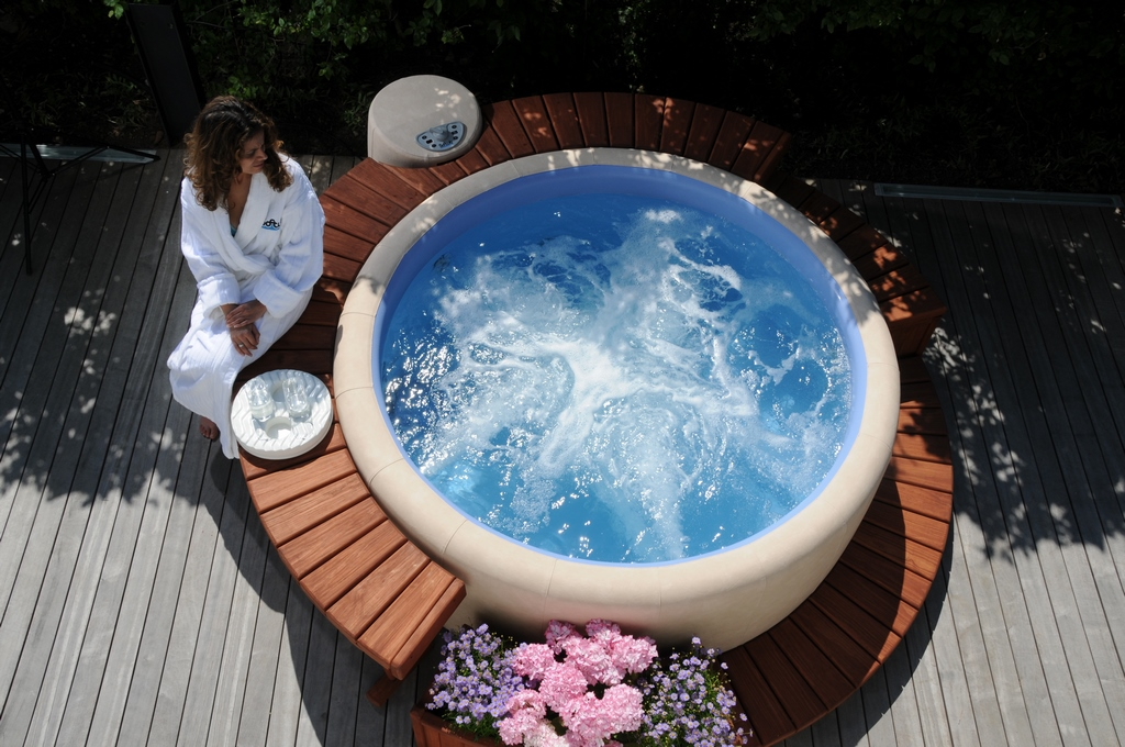 Softub round hot tub from above