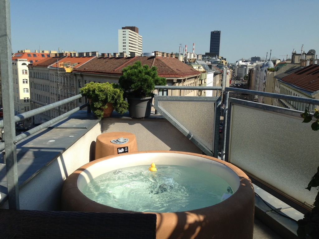 Softub hot tub on small roof terrace